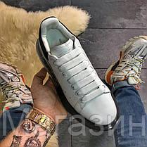 Женские кроссовки Alexander McQueen Oversized Air Crystal Sole White Black Александр Маккуин белые, фото 3