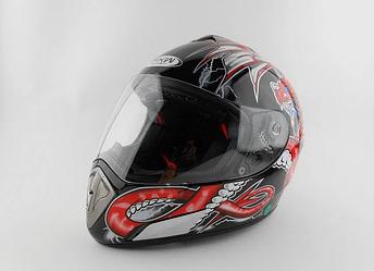 Шлем  FXW HF-180  черный с красным Драконом BLACK  Q35