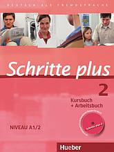 Учебник и рабочая тетрадь Schritte plus 2 Kursbuch + Arbeitsbuch mit Audio-CD zum Arbeitsbuch und interaktiven