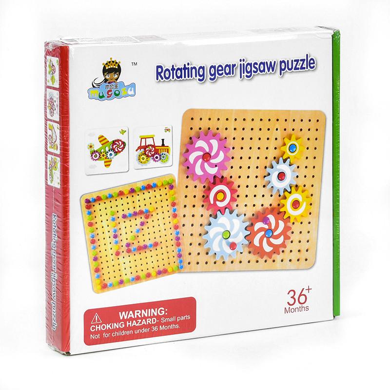 Деревянная игра Мозаика С 35980 (с цветными карточками и шестеренками)