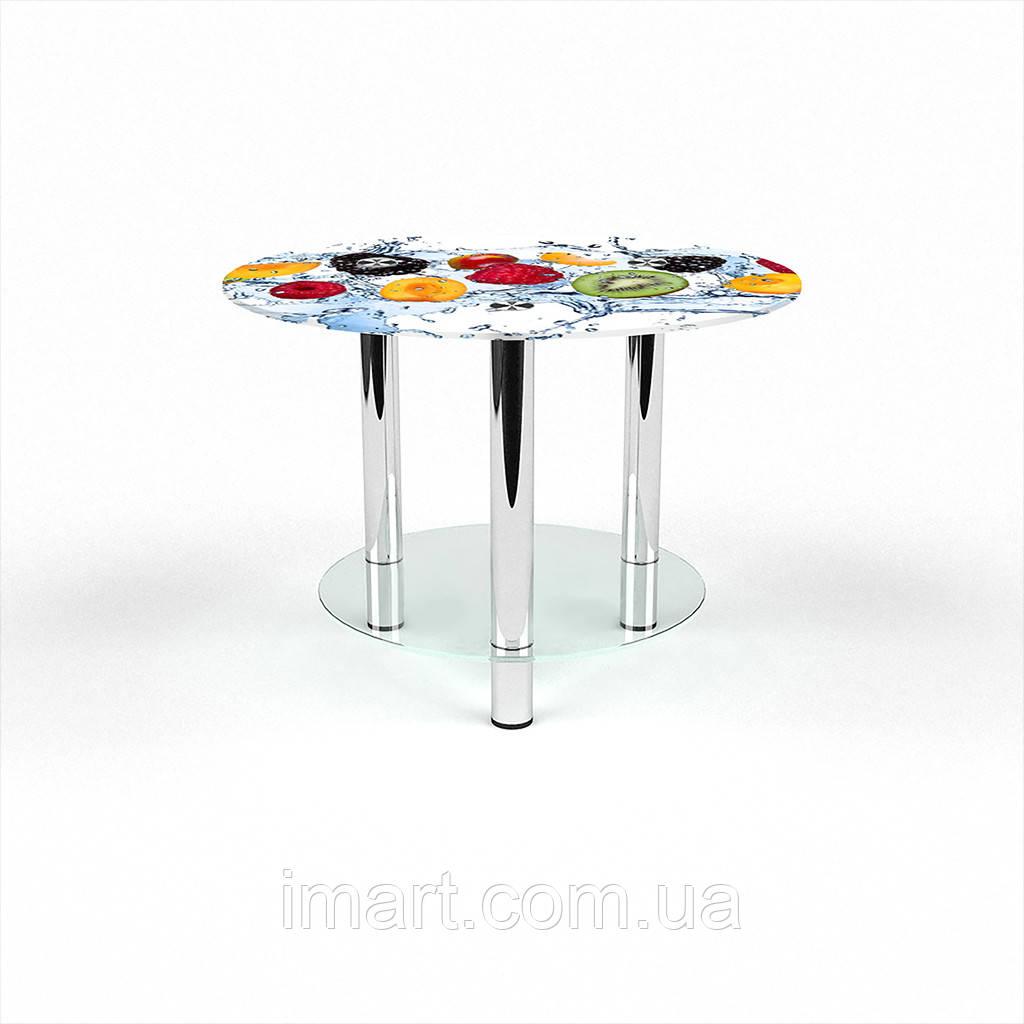 Журнальный стол круглый с полкой Berry Mix стеклянный