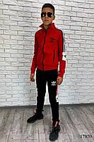 Спортивный костюм на подростка черный с красным, фото 1
