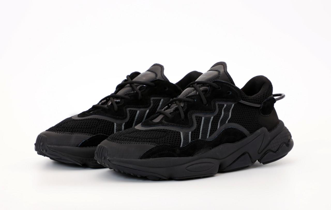 Мужские черные Кроссовки Adidas Ozweego(реплика)