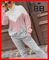 Женский спортивный костюм, объемный вязанный.Размер универсал (42-50). Цвет белый+розовый+серый.