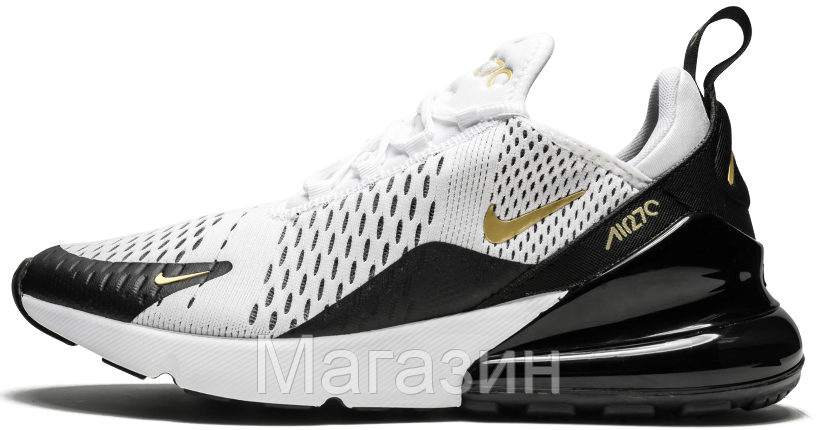 Мужские кроссовки Nike Air Max 270 White/Black/Gold Найк Аир Макс 270 белые