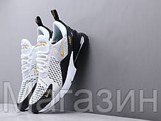 Мужские кроссовки Nike Air Max 270 White/Black/Gold Найк Аир Макс 270 белые, фото 3