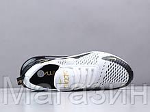 Мужские кроссовки Nike Air Max 270 White/Black/Gold Найк Аир Макс 270 белые, фото 2