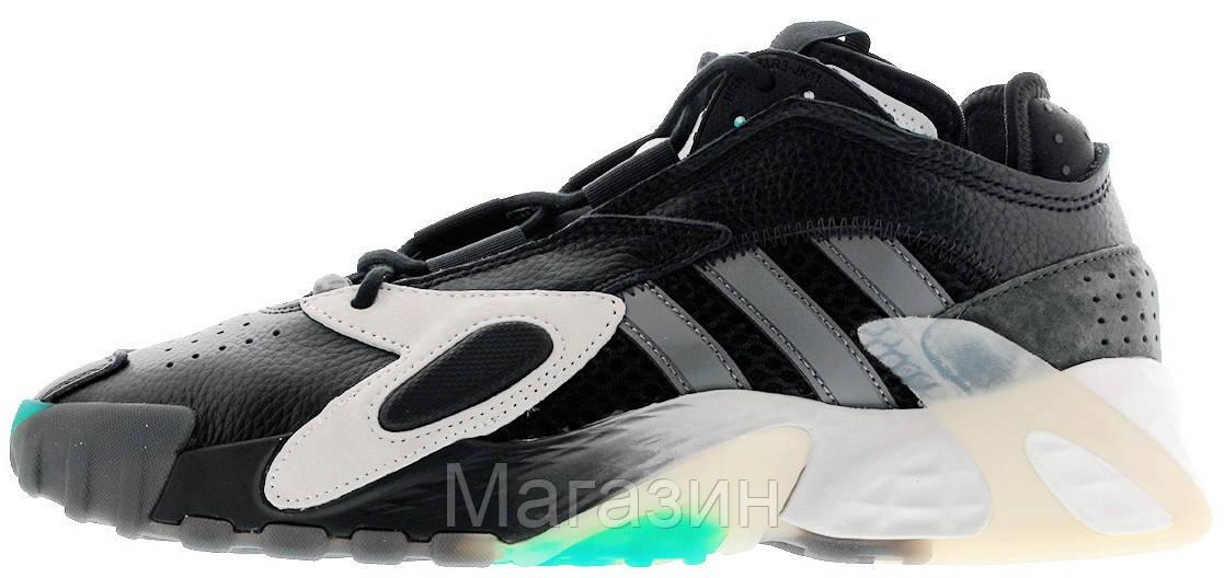 Мужские кроссовки Adidas Streetball Black/White/Aqua Адидас Стритбол черные