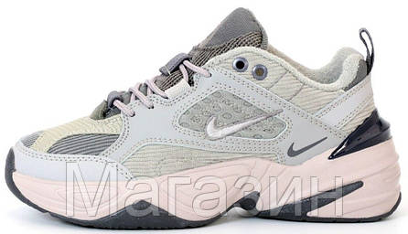 Женские кроссовки Nike M2K Tekno Light Grey Найк М2К Текно серые, фото 2