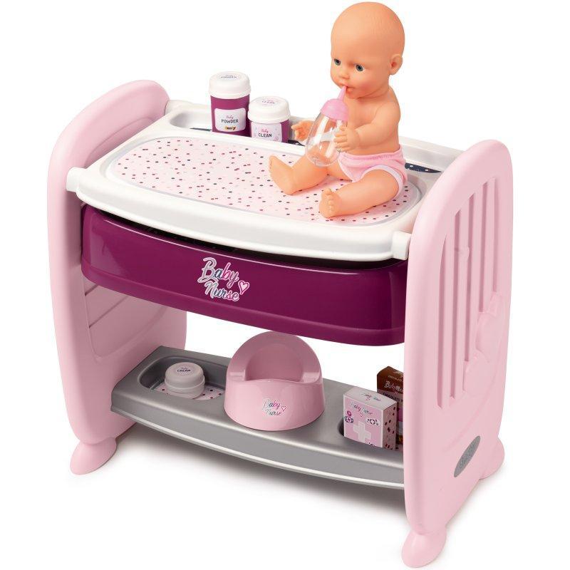 Кровать для куклы с пеленальным столиком Baby Nurse Smoby 220353