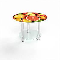 Журнальный стол круглый с полкой Fruit стеклянный