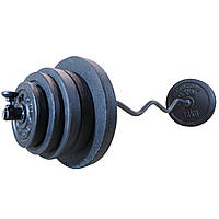 Штанга 54 кг W-образная разборная фиксированная 1.45 м W-гриф наборная для дома домашняя