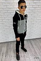 Утепленный костюм на подростка черный с серым, фото 1