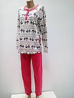 Пижама женская на байке хлопковая тикотажная кофта и штаны