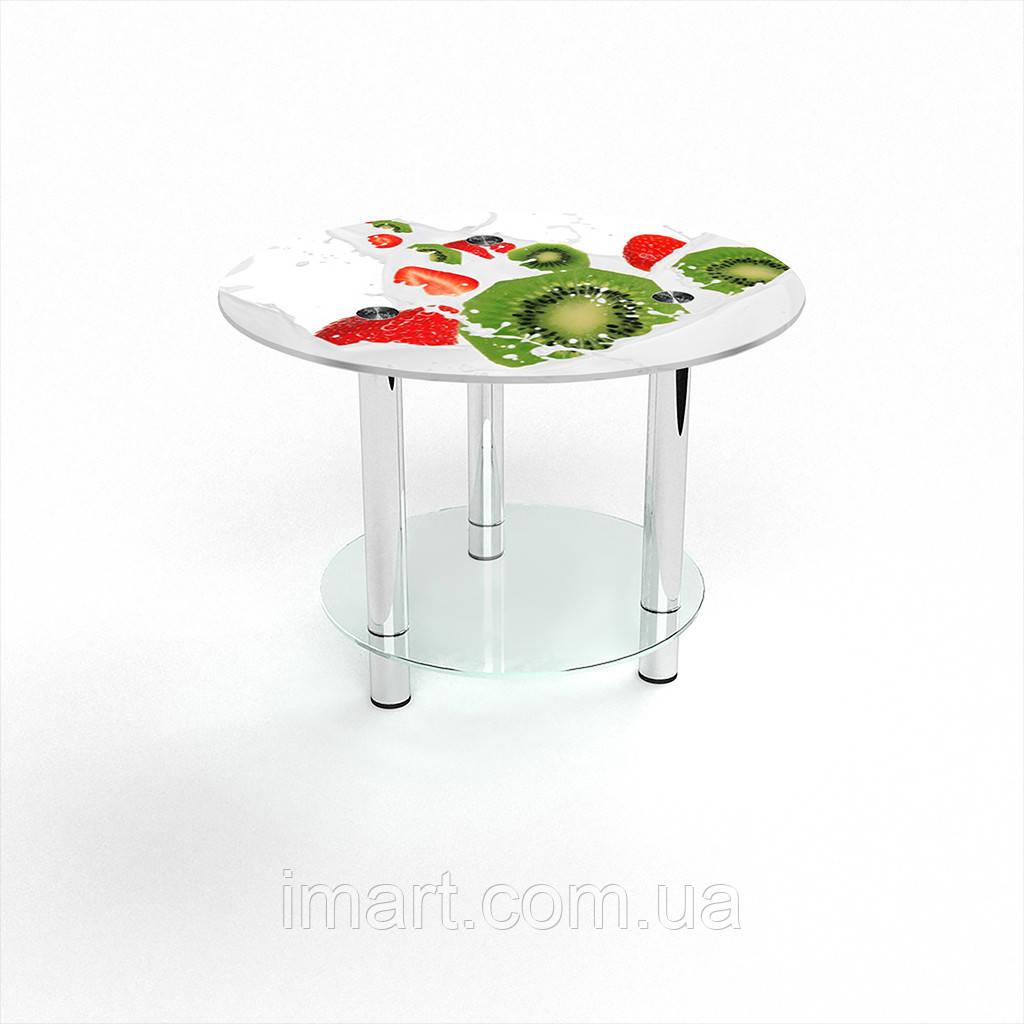Журнальный стол круглый с полкой Fruit&Milk стеклянный
