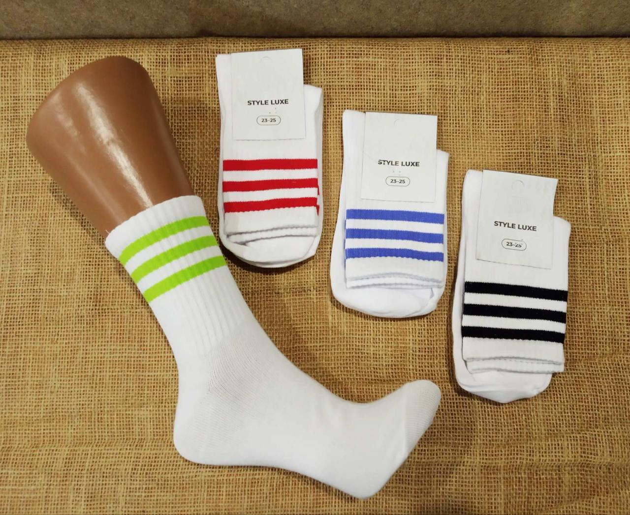 Высокие женские носки теннис с рифленой резинкой