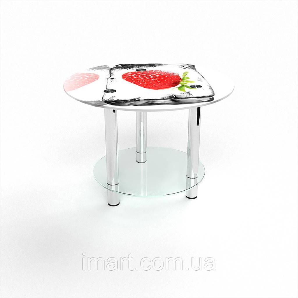 Журнальный стол круглый с полкой Ice berry стеклянный