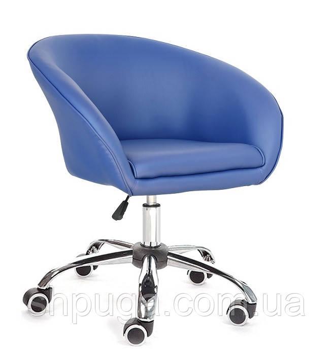 Кресло Мурат мягкое, хромированное, экокожа, цвет синий