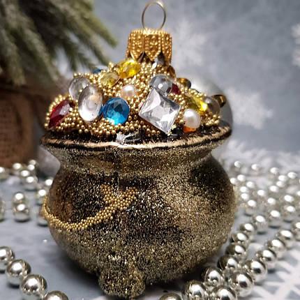 Стеклянная елочная игрушка Мешочек с богатством Irena, фото 2