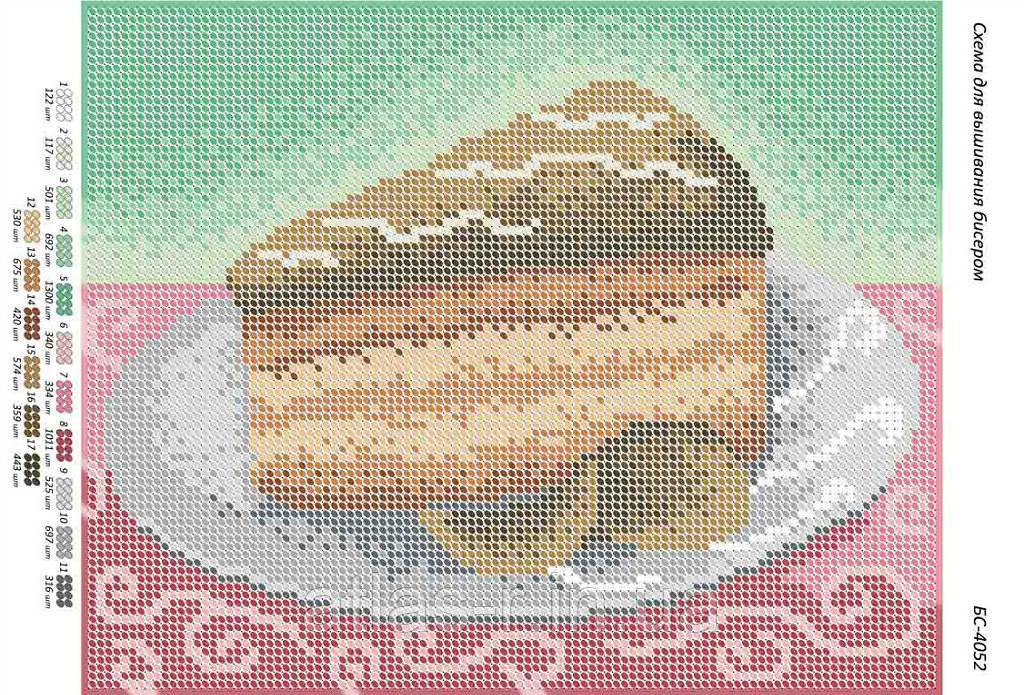 """Схема для полной зашивки бисером """"Тортик Шоколадный"""""""