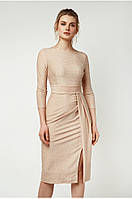 Женское платье с асимметричными складками Lipar Персик