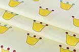 """Отрез сатина шириной 160 см """"Жёлтые короны с бусинками"""" на кремовом №2140с, фото 4"""