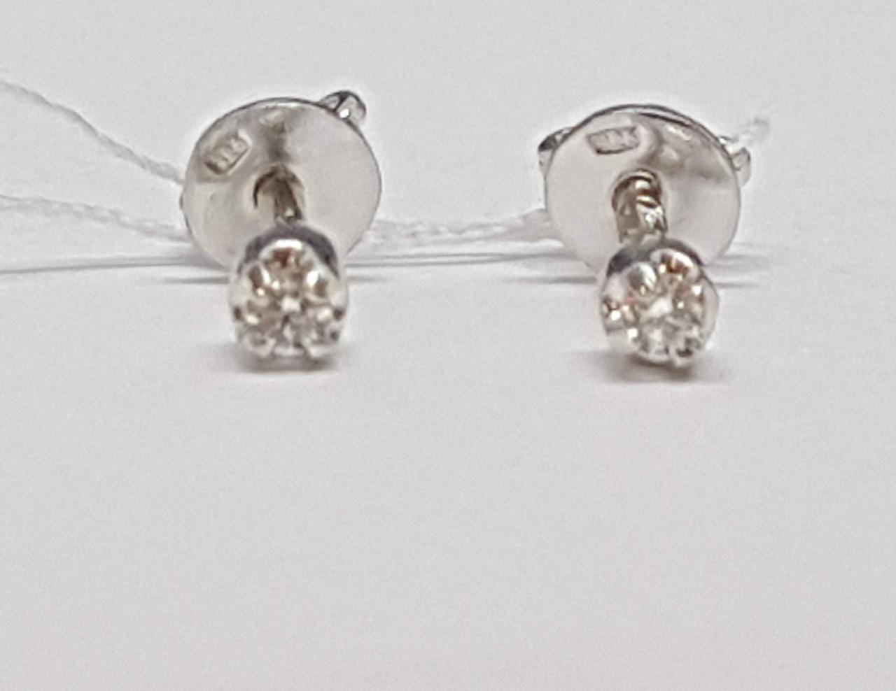 Серебряные серьги-пуссеты с фианитами. Артикул 3124230401В