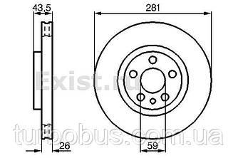 Диск тормозной Expert/Scudo/Jumpy 806 Evasion 281X26 кол. R15