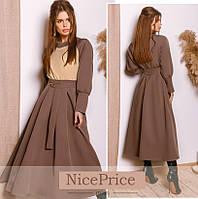 Модное платье из костюмной ткани с широкой юбкой 3 цвета 42-58р