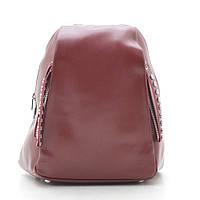 Женский кожаный бордовый красный рюкзак, нат кожа