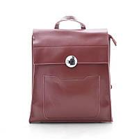 Женский кожаный красный бордовый рюкзак, нат кожа
