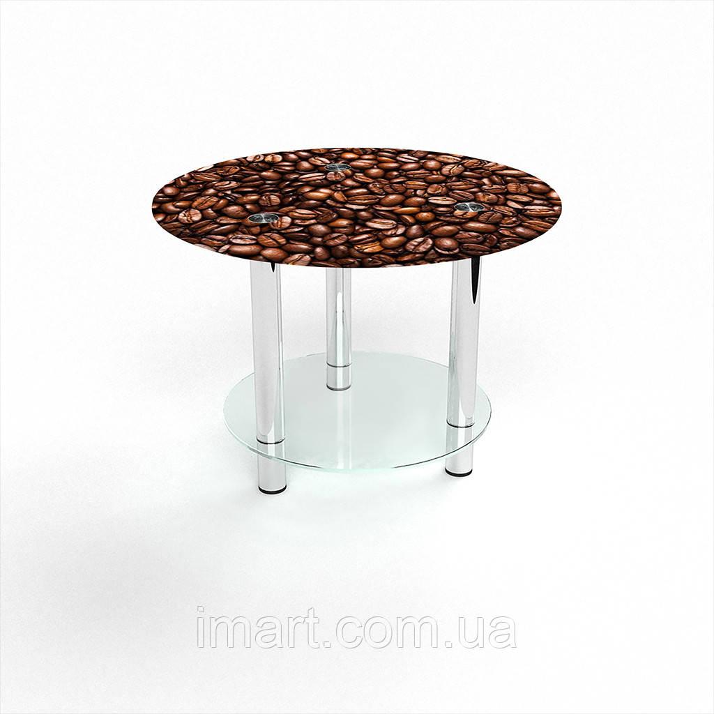 Журнальный стол круглый с полкой Morning aroma стеклянный