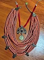 Керамічне намисто з бронзовим дукачем