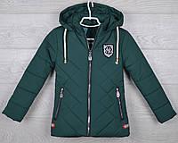 """Куртка подростковая демисезонная """"NY""""  9-10-11-12-13 лет (134-158 см). Темно-зеленая. Оптом., фото 1"""