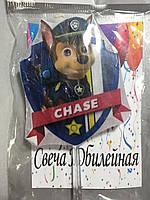 """Свеча большая (7см) """"Щенячий патруль"""" ручной работы в торт - Гонщик Чейз / Chase"""