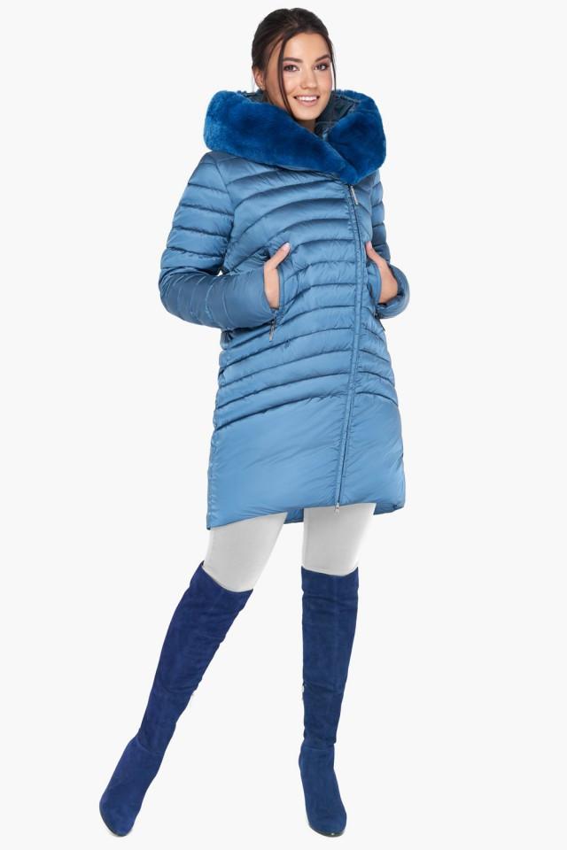 Женская голубая зимняя куртка-воздуховик с натуральным мехом на капюшоне Braggart Angel's Fluff