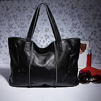 Кожаная женская сумка из натуральной кожи. Сумка шоппер женская (черная), фото 1