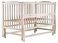 Кровать Babyroom Еліт резьба, маятник, откидной бок DER-6  бук слоновая кость, фото 1