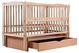 Кровать Babyroom Еліт резьба маятник, ящик, откидной бок DER-7  бук светлый (натуральный), фото 3