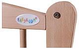 Кровать Babyroom Еліт резьба маятник, ящик, откидной бок DER-7  бук светлый (натуральный), фото 7