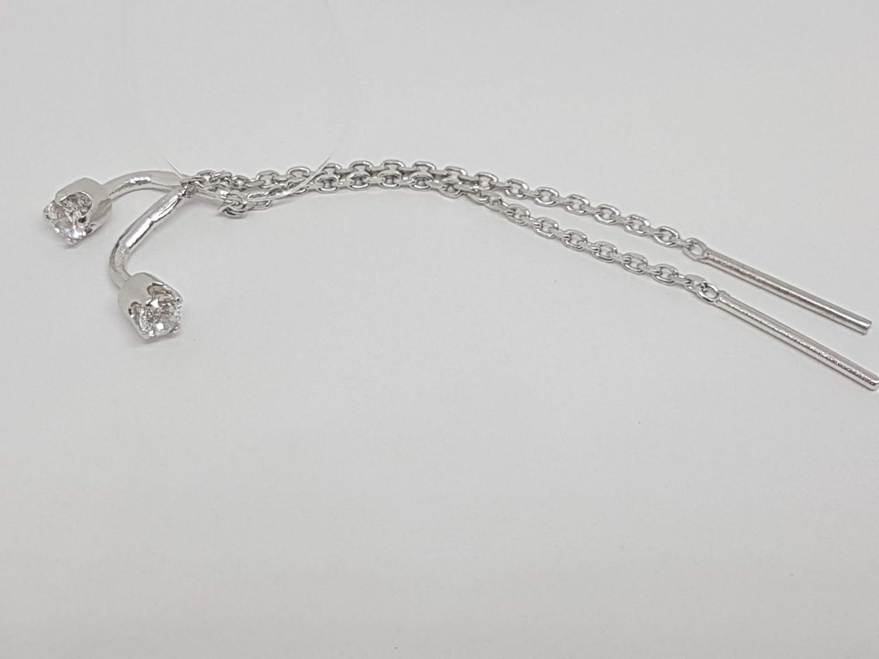 Серебряные серьги-протяжки с фианитами. Артикул 3524244401В