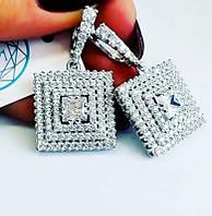 Серьги с подвесом и цирконом серебро Жизель