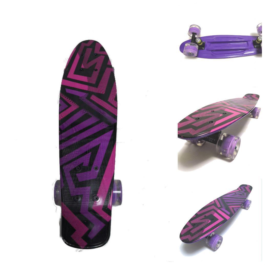 Пенни борд Фиолетовый Лабиринт светящиеся колеса (Penny board, АВЕС-7, PU light колеса)