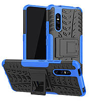 Чехол Armored для Vivo V15 Pro противоударный бампер с подставкой синий