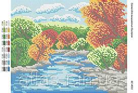 """Схема для полной зашивки бисером """"Осень у реки"""""""