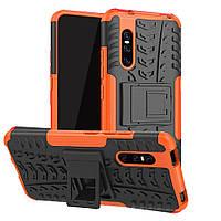 Чехол Armored для Vivo V15 Pro противоударный бампер с подставкой оранжевый