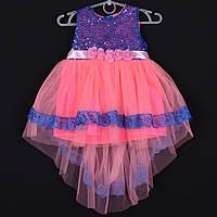 """Платье детское """"Шлейф"""" 2-3-4-5-6 лет (92-116 см). Коралловое. Оптом, фото 1"""