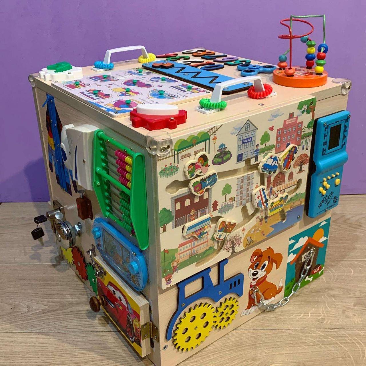 """Развивающий куб """"Бизикуб"""" Мега кубик для развития ребенка 40*40*40 см натуральная основа"""