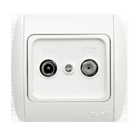 Розетка комбинированная ABB El-bi ZIRVE Fixline ТВ + спутник проходная для внутреннего монтажа, белая, Турция