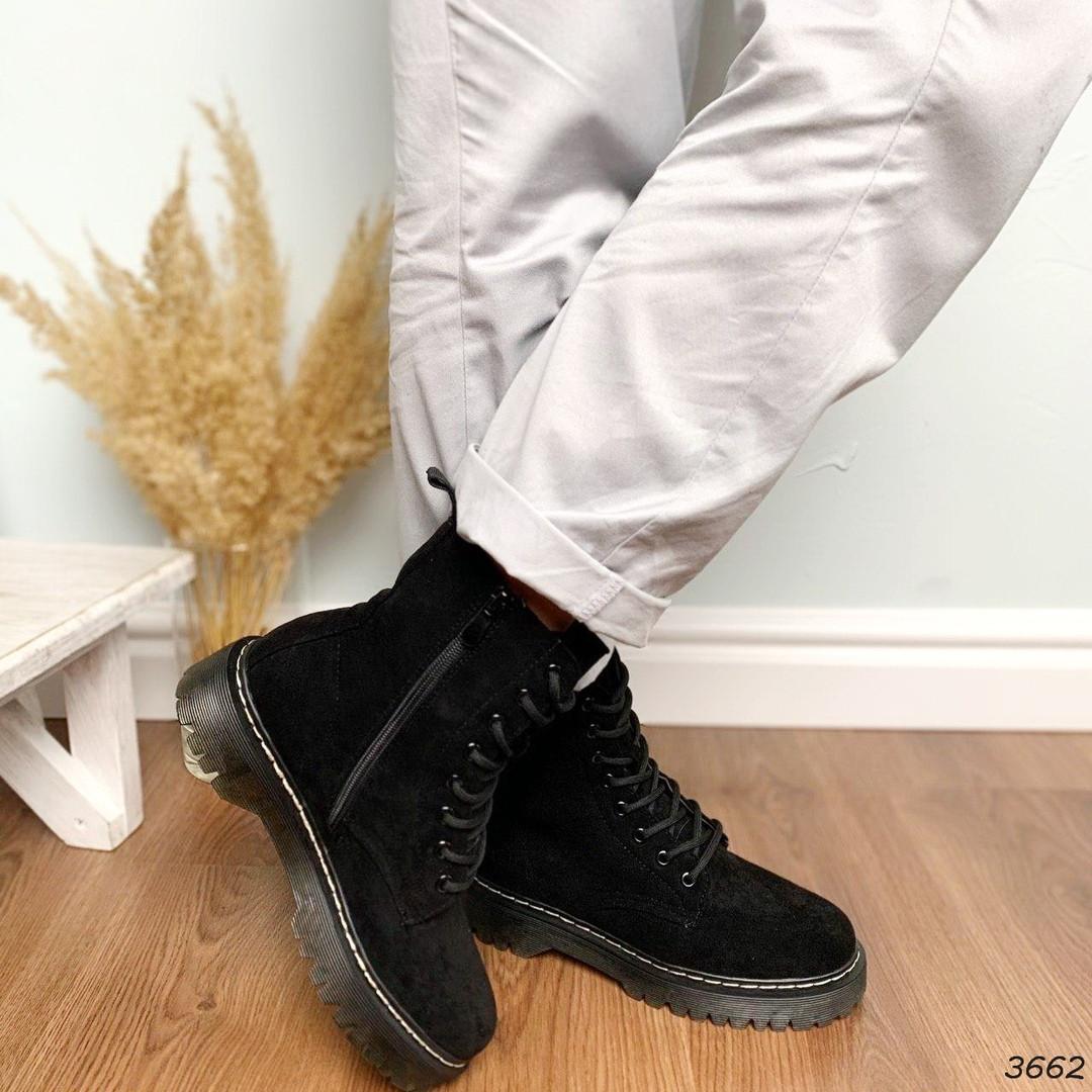 Ботинки женские черные эко-замша :)